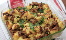 """Breakfast Bread Pudding"" — French Bread and Sweet Bread with Italian Sausage and Arugula. © Sugar + Shake"