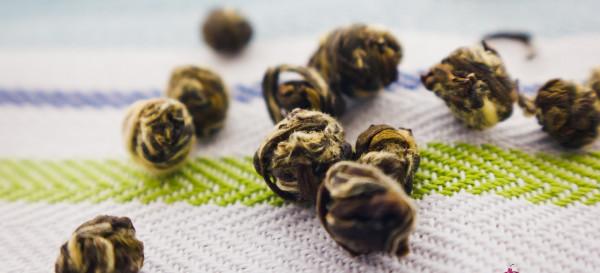 Jasmine Dragon Phoenix Pearls. Silly name, great tea. © 2012 Sugar + Shake