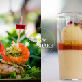 "Previews from the Hawai'i Food & Wine Festival. From the Under the Modern Moon: Morimoto & Friends event— ""Shrimp Cocktail"" by Amber Lin; Macadamia Nut Honey Mousse by Stephen Durfee. © 2013 Sugar + Shake"