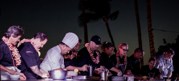 Mālama Maui participating chefs (in black, with lei) from left to right: Hiroyuki Sakai, Rick Tramonto, Marcel Vigneron, Greg Grohowski, Bev Gannon. © 2013 Sugar + Shake
