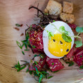 Hawai'i Food & Wine Festival 2013; Under the Modern Moon event: 'Ahi Tartare with Ogo & Quail Egg by Chef Floyd Cardoz (North End Grill). © 2013 Sugar + Shake