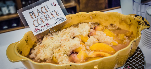 Peach cobbler at VIA Gelato. Sooo good warm, with a little gelato a la mode! © 2014 Sugar + Shake