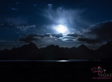 Moonset over the Tetons at Jackson Lake Lodge. Grand Teton National Park, Wyoming.