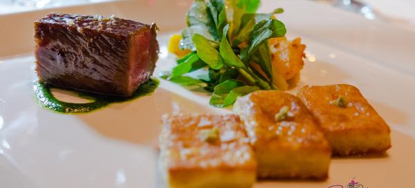 Chef Mavro Fall 2014 Menu Tasting. Wagyu pavé, pomegranate-teriyaki glaze, Sumida Farm watercress, sautéed kabocha, potato kochi with yuzu kosho accent. © 2014 Sugar + Shake